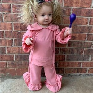 Boutique Girls Pink Ruffle Tracksuit